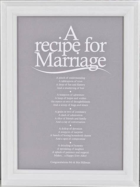 'A Recipe For Marriage?' Poem Print   Rachel's Wedding