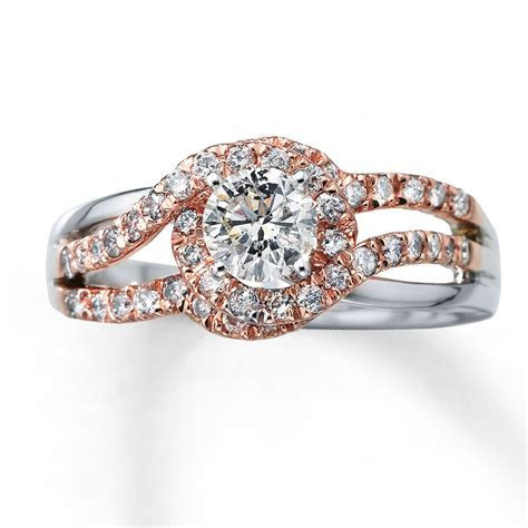 Diamond Engagement Ring 7/8 ct tw Round cut 14K Two Tone