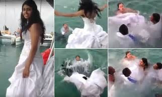 Bride nearly drowns as she gets stuck under wedding dress