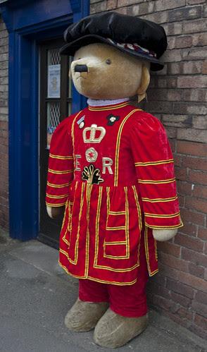 Merrythought bear, Ironbridge, Shropshire