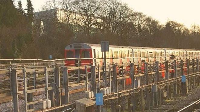 Derailed District Tube train