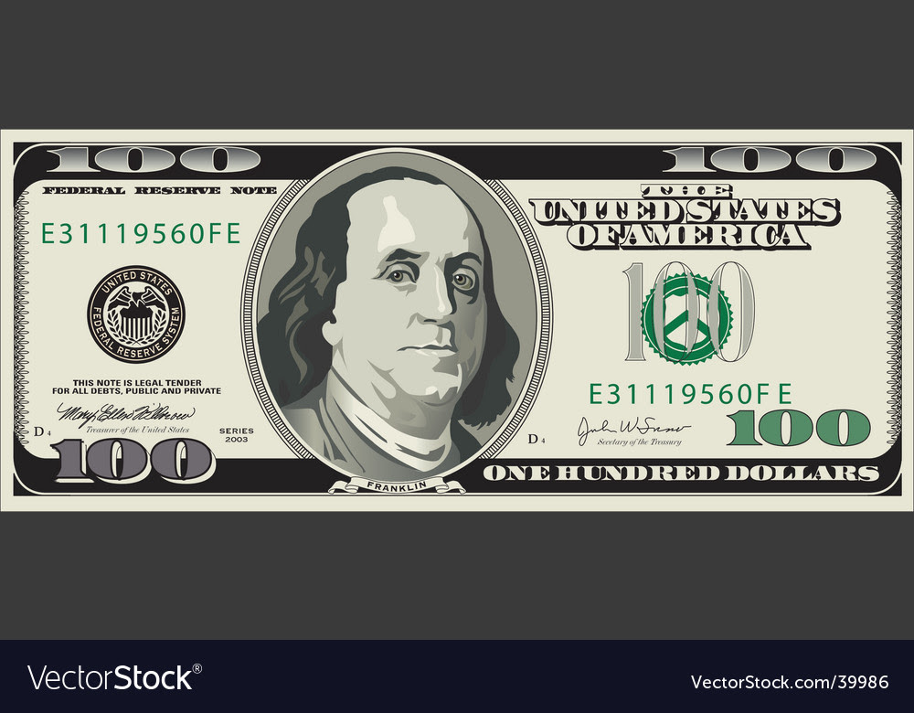 This is a graphic of Peaceful Printable 100 Dollar Bill Template