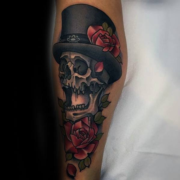 30 Skull With Top Hat Tattoo Designs For Men Manly Ink Ideas