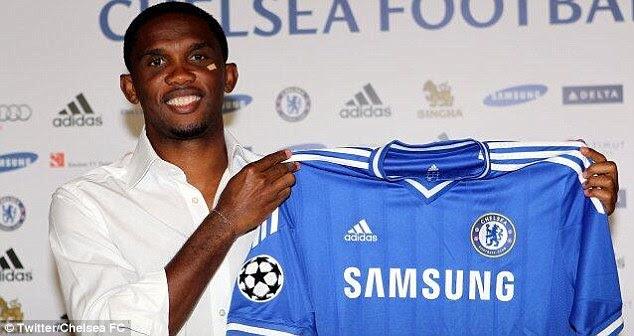 Parading: Eto'o has signed for Chelsea