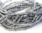 Teeny Tiny Pearls, 1mm x 2mm Rondelles, Cultured Freshwater Seed Pearls, One Full Strand Beads, Silvery Ash Grey - RDBeads