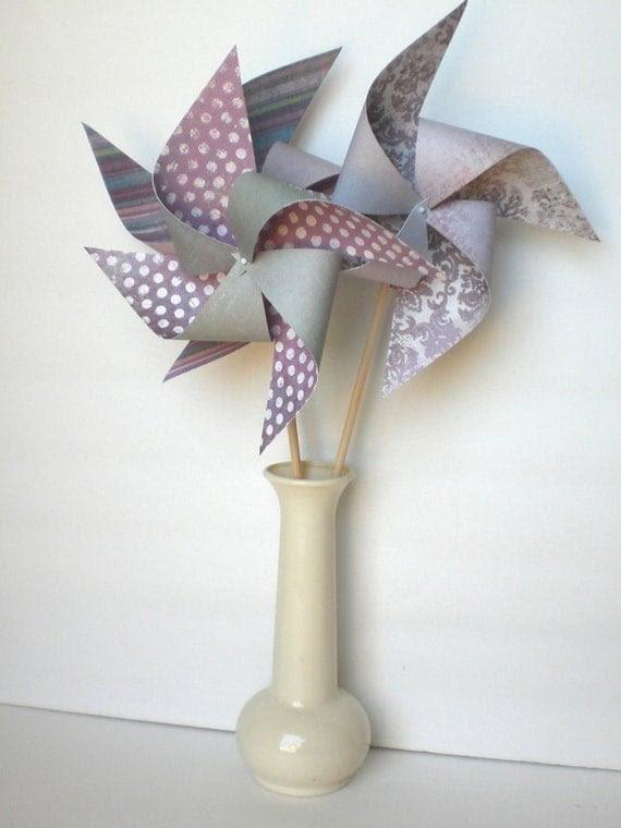 """Pinwheels 8 """"Purple Haze"""" Medium Paper Pinwheels"""