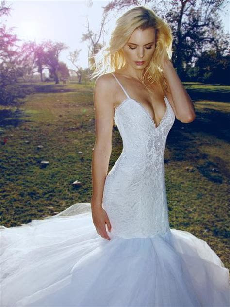 Lauren Elaine Jasmine   Backless Mermaid Wedding Dress