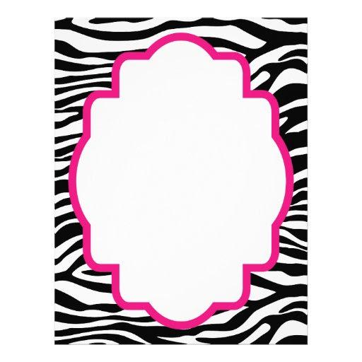 Trendy Zebra Print with Pink Customized Letterhead from Zazzle.