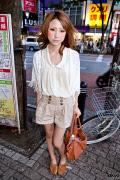Shibuya Girl in High Waist Shorts, Lace Cardigan & Suede Camel Wedges