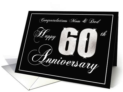 60th Diamond Anniversary Cards for Mom and Dad Cards Paper