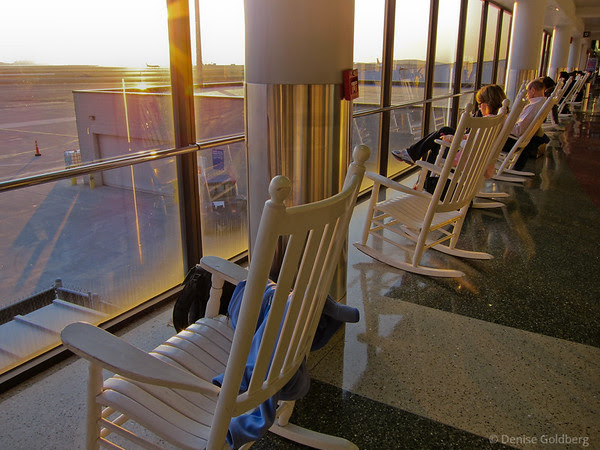 rocking chairs at Logan Airport, calm
