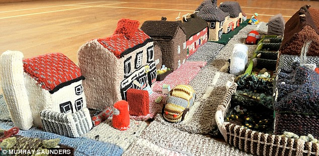 KNITTED VILLAGE FEATURE ...MERSHAM IN KENT (VIEW OF HE STREET)