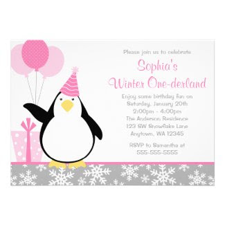 Penguin Snowflakes Winter Onederland Birthday Personalized Announcement
