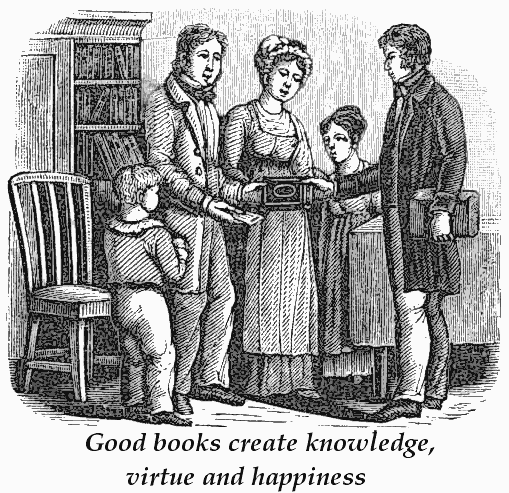 Victorian Clipart illustrations of a family, which included a father, mother, two children and the father is happily  greeting a man who is selling them an educational book for them to read and add to the library of books they proudly display, the proverb is