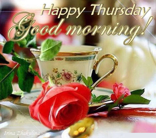 Happy Thursday Good Morning Quote With Coffee And Roses Pictures