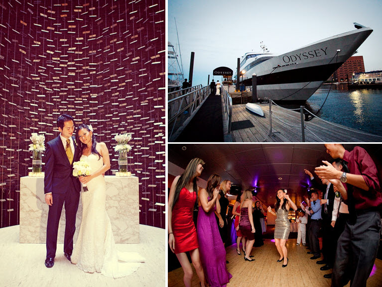 The Odyssey cruise ship sailed through Boston harbor while wedding guests