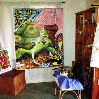#turtle #painting #art with sleepy #cat