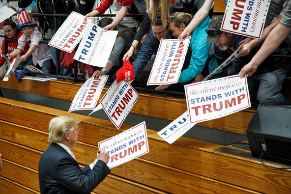 Donald J. Trump signed autographs after a campaign event at Radford University in Virginia on Monday.