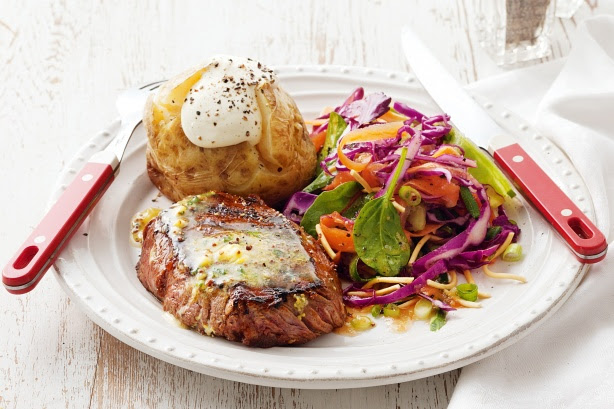 Rump Steak With Mustard Butter And Jacket Potatoes Recipe ...