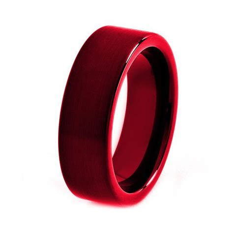 Black Tungsten Ring, Red Men Tungsten Rings, Red Wedding
