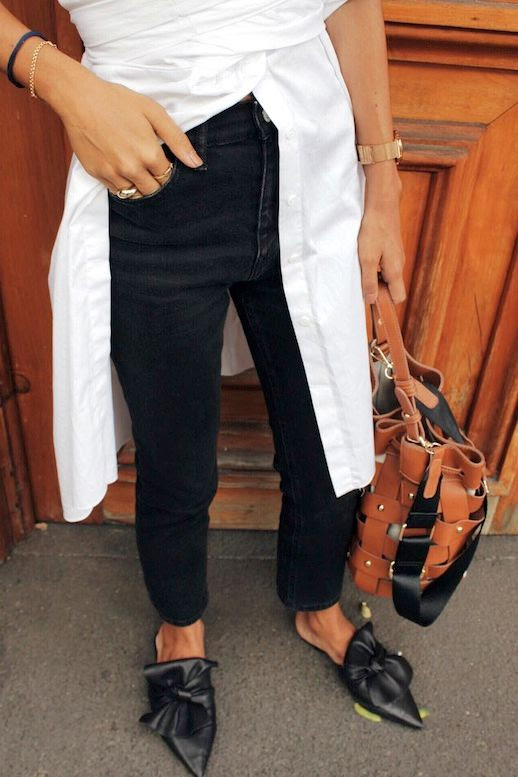 Le Fashion Blog Blogger Style Office Look White Long Wrap Button Down Blouse Brown Woven Studded Leather Bag Black Denim Knotted Pointed Toe Leather Mule Flats Via @deborabrosa
