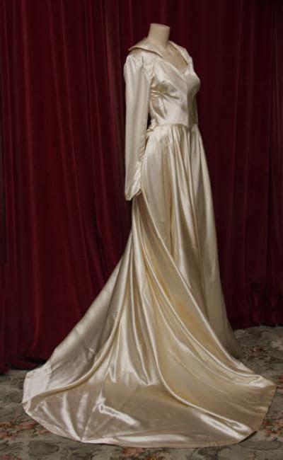 1940s cream shiny silk satin wedding gown with train