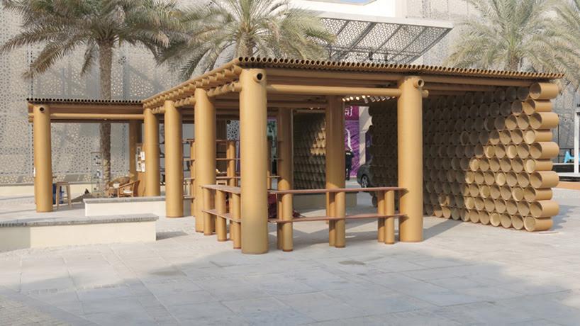 shigeru ban shapes abu dhabi art pavilion from cardboard tubes