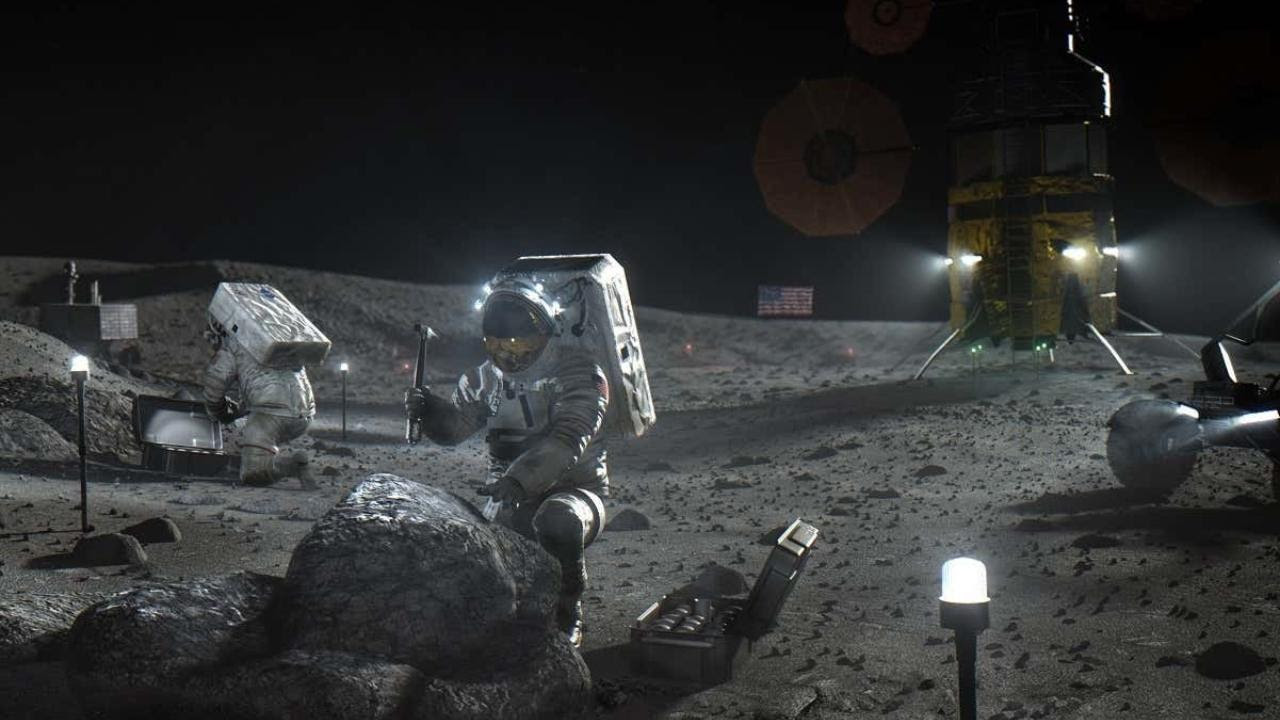 This illustration made available by NASA in April 2020 depicts Artemis astronauts on the Moon. On Thursday, April 30, 2020, NASA announced the three companies that will develop, build and fly lunar landers, with the goal of returning astronauts to the moon by 2024. The companies are SpaceX, led by Elon Musk; Blue Origin, founded by Amazon's Jeff Bezos; and Dynetics, a Huntsville, Ala., subsidiary of Leidos. (NASA via AP)