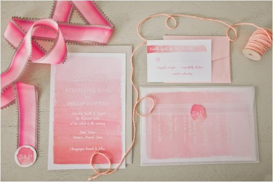 pink ombre wedding invites