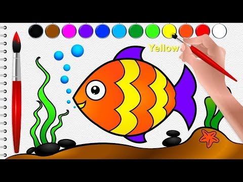How To Draw A Fish And Coloring For Kids Cartoon Fish Drawing Go School