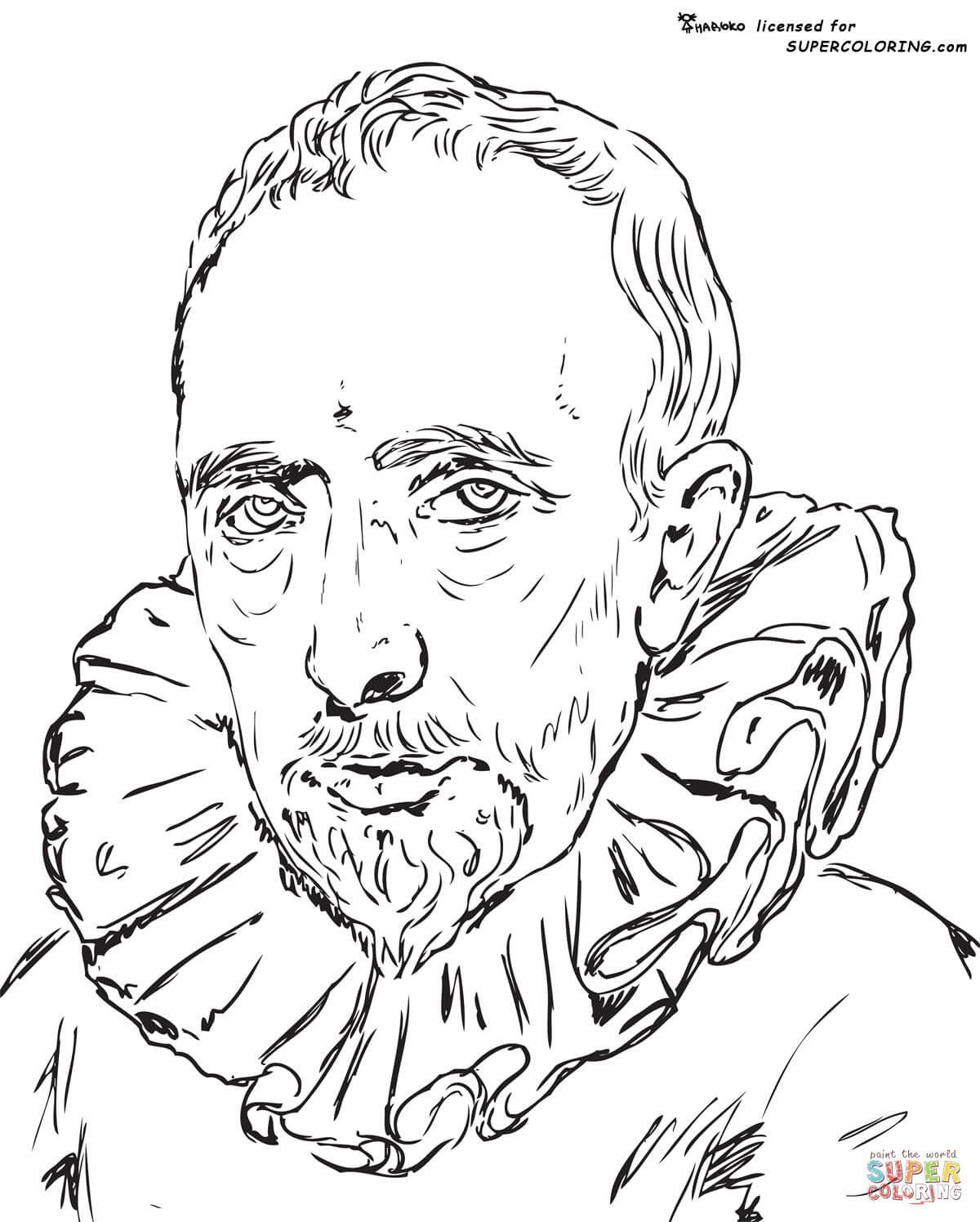 Portrait Of Cornelis Van Der Geest By Anthony Van Dyck coloring page | Free Printable Coloring Pages