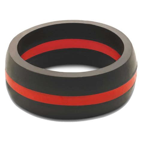 Qalo Men's Thin Red Line Silicone Wedding Ring