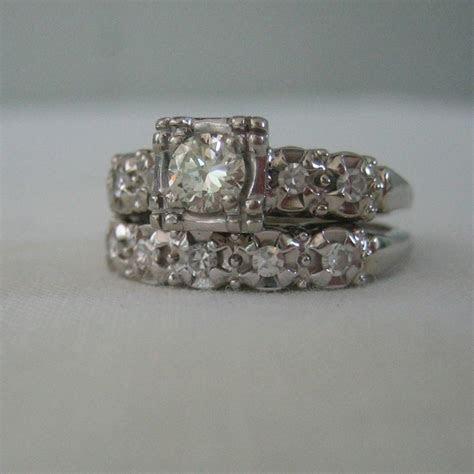 Vintage 1940s White Gold. Diamond. Engagement Ring