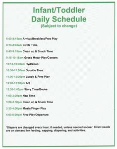 Toddler Daily Schedule For Daycare | Daily Planner