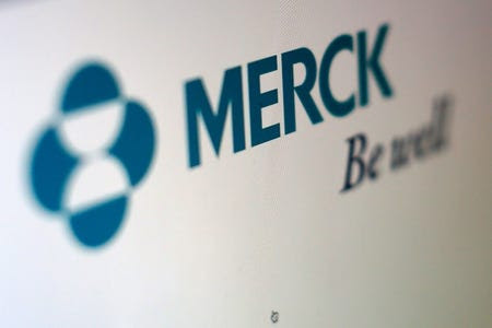 FILE PHOTO: The logo of Merck is pictured in this illustration photograph in Cardiff, California April 26, 2016. REUTERS/Mike Blake/Illustration/File Photo