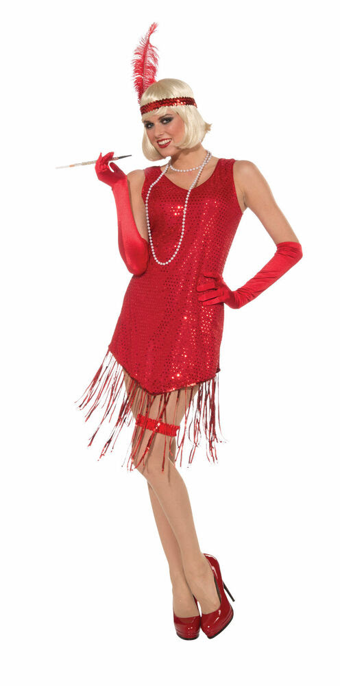 adult sexy roaring 20's sequin red gatsby flapper jazz