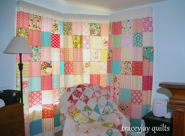 Scarlet's patchwork curtains