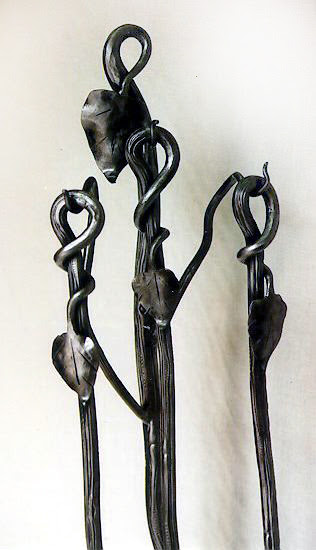 Hand Forged Wrought Iron Fireplace Tools With Stand 31 Long