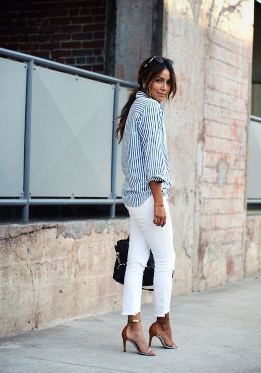 Le Fashion Blog 25 Ways To Wear A Striped Button Down Shirt White Distressed Jeans Via Sincerely Jules Cut Off Cropped Sandals Blogger Style