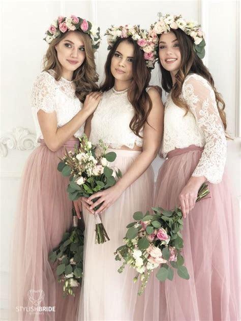 Blush Palette Bridesmaids Lace Dress, Long Blush