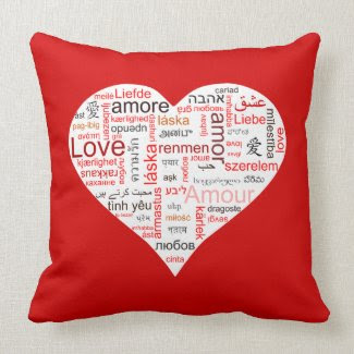 Red Love Heart Typography Throw Pillow