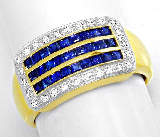 Foto 2, Neu! Traumhafter Topsafir-Brillant-Ring Luxus Portofrei, S8406