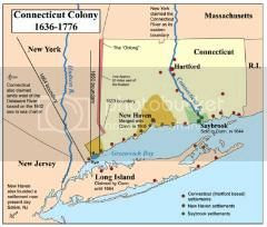 map of the American colony of Connecticut