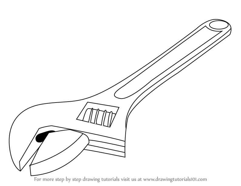 how to draw adjustable spanner step 0