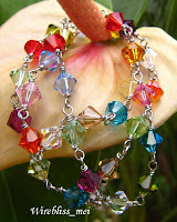 Wire Wrapped Colorful Swarovski Crystal Necklace & Earring Set