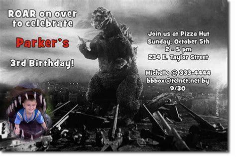 Godzilla Birthday Invitations, Candy Wrappers, Thank You