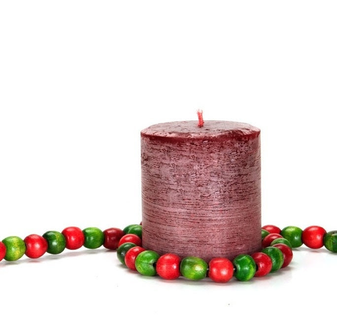 Christmas Wreath Scented Pillar Candle, Handmade and Hand-poured, 14 ounces ( 397 grams)