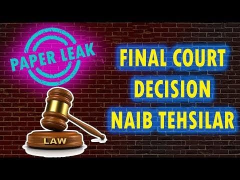 Final Court Decision Naib Tehsildar Examination JKSSB   Paper Leak