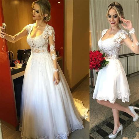 Sexy Ivory Beaded Lace Wedding Dresses Sweetheart 2 in 1