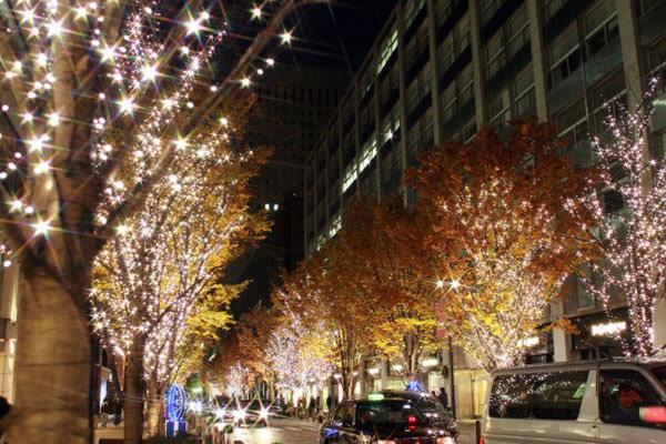 フリー素材 東京丸の内クリスマスイルミネーションを撮影した写真素材